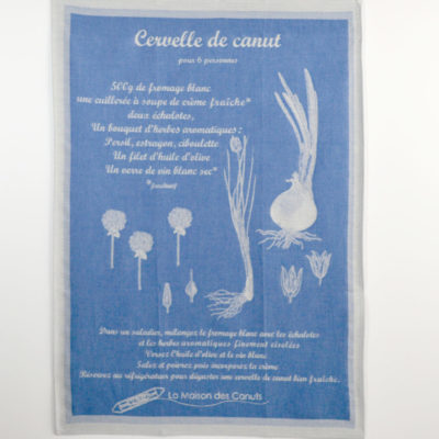 Torchons « Canut » bleu - jacquard - coton - made in france-boutique-foulard-soie-lyon