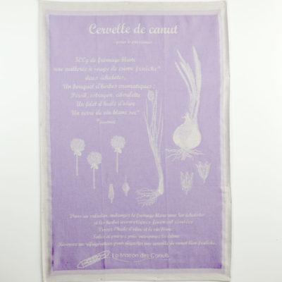 Torchons « Canut » lavande - jacquard- coton - made in france-boutique-foulard-soie-lyon