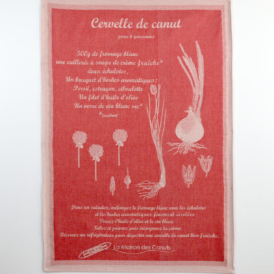 Torchons « Canut » rouge - jacquard - coton - made in france-boutique-foulard-soie-lyon