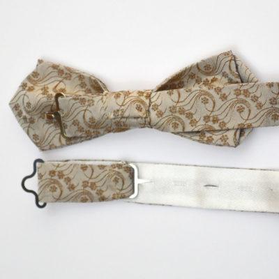 Millefiori-crochet-noeud papillon-soie-beige-miel-soie-jacquard-made-in-france-boutique-foulard-soie-lyon