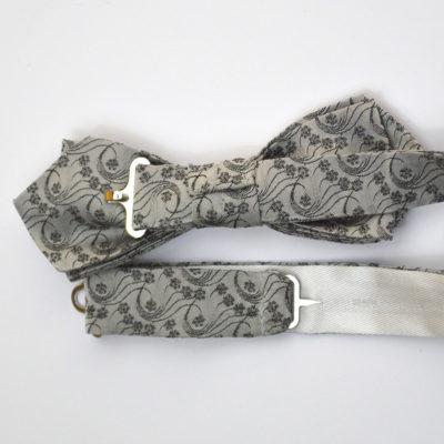 Millefiori-noeud papillon-soie-jacquard-gris clair-gris fonce-soie-jacquard-made-in-france- boutique-foulard-soie-lyon