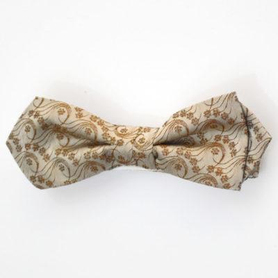 Millefiori-noeud papillon-soie-jacquard-beige-miel-homme-soie-jacquard-made-in-france