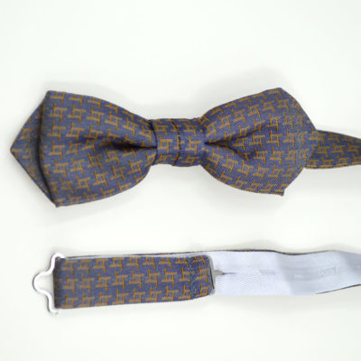 archi-crochet-noeud papillon-soie-gris-orange- jacquard- made in france - lyon - boutique et magasin de soie à lyon