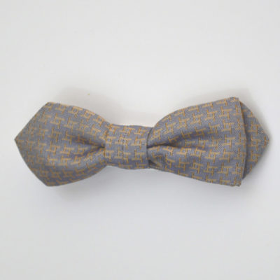 archi-noeud papillon-soie-gris-orange-soie-jacquard-made-in-france