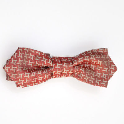 archi-noeud papillon-soie-rouge-beige-soie-jacquard-made-in-france