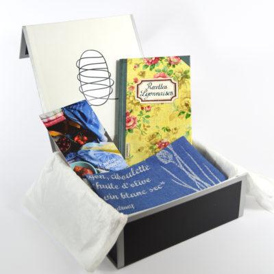 coffret cadeau-torchon-damasse-livre de cuisine-boutique-foulard-soie-lyon