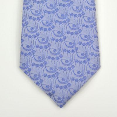 millefiori-cravate-soie-pointe-bleu ciel-bleu-jacquard-made in france-lyon-croix rousse-boutique et magasin de soie à lyon