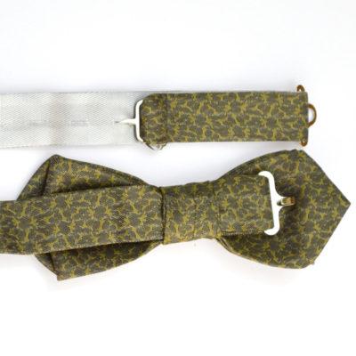 rezo-crochet-noeud papillon-soie-gris-jaune vert - jacquard - soie - made in france - lyon - croix rousse - boutique et magasin de soie à lyon