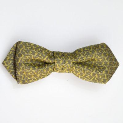 rezo-noeud papillon-soie-gris-jaune vert - jacquard - soie - made in france - lyon - croix rousse - boutique et magasin de soie à lyon