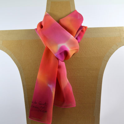 peint-main-mousseline-camaieu-degrade-orange-rose-peint main -boutique - foulard- soie- lyon