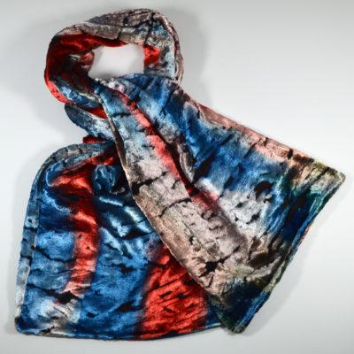 velours peint main - bleu-rouge-soie-viscose-boutique-foulard-soie-lyon