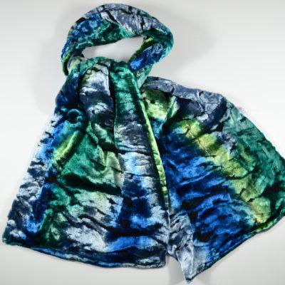 velours peint main- bleu-vert-soie-viscose-boutique-foulard-soie-lyon
