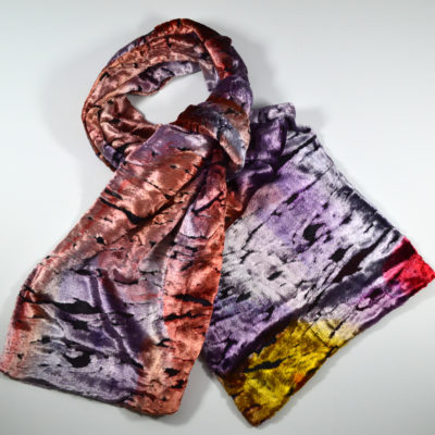 8895597c7c5 ... velours peint main - jaune-violet-rose-rouge--soie-viscose